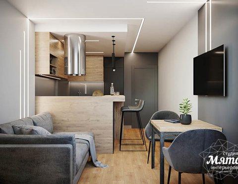 Дизайн интерьера однокомнатной квартиры в ЖК Оазис